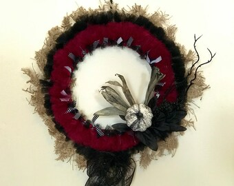 Rustic, Gothic Wreath, 14 Inches // Halloween Decor, Wall Art // Black, Maroon // Burlap, Pumpkim, Mesh // Zombiesque Creations