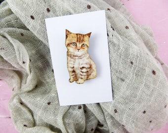 Tabby Cat Brooch