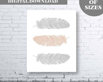 Feather Wall Art Print - Instant Download. Home Art Print. Feather Wall Art. Gray Taupe Decor. Taupe Gray Print. Grey Taupe Decor. Modern