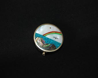 Alpaca landscape pill box - vintage mother of pearl round snuff box - trinket jewelry box - abalone mexico silver mother of pearl accessory
