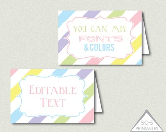 Easter Tent Labels, Easter Labels, Name Cards, Editable labels, EDITABLE PDF, Add your own text, Spring Labels, Printable Labels, Pastel