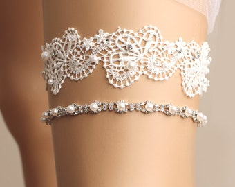 wedding garter set, bridal garter set, lace garter set, white garter set, crystal garter, toss garter, wedding accessories, beads garter