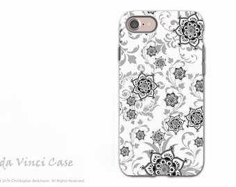 Black and white Paisley iPhone 7 / 8 Tough Case - Floral Art Apple iPhone 8 Cover - Dual Layer Protection by Da Vinci Case - Victoriana
