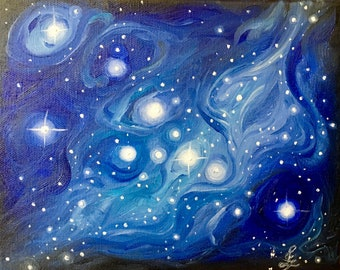 Taurus - original oil painting. Zodiac constellation art stargazer art astrology horoscope astronomy black holes nebula universe sky art