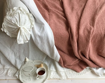 Voluminous Blanket, Linen and Cotton blend blanket, Linen throw, Natural Blanket, Linen coverlet, Daybed blanket, Christmas gift