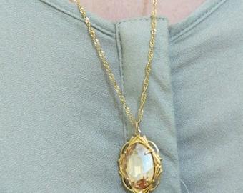 Golden swarovski necklace, gold necklace, 14k gold filled, long necklace, golden crystal, stone necklace