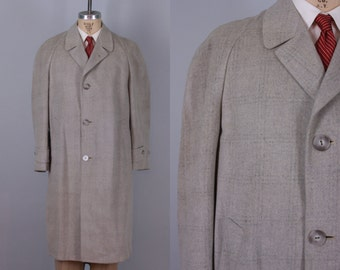 Vintage 1950s Men's Coat | 50s Light Grey Wool Flannel Overcoat Jacket with Light Gray Windowpane | Large / Extra Large XL
