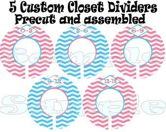 Custom Closet Divdiers Baby Girl clothing Dividers Size Dividers Hangers Rod dividers baby nursery Organizer Pink Blue Toddler dividers