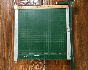 Vintage Green Paper Cutter // Photo Materials Co Chicago Illinois Premier Brand // Retro Office Tools Props