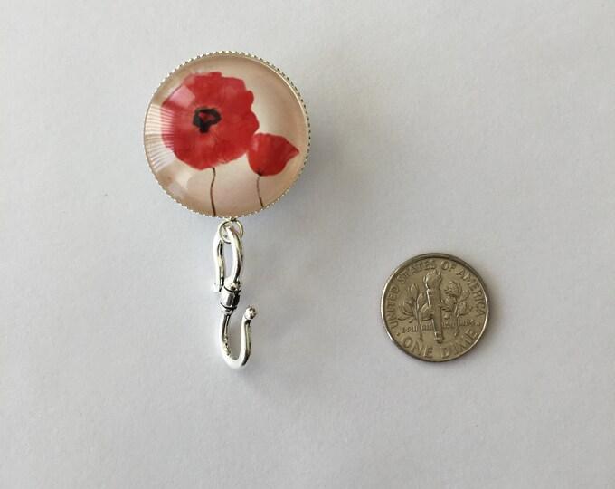 Knitting Pin - Magnetic Knitting Pin for Portuguese Knitting - Poppy Flower