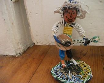 vintage WIRE ART, figurine, Portuguese fado guitar