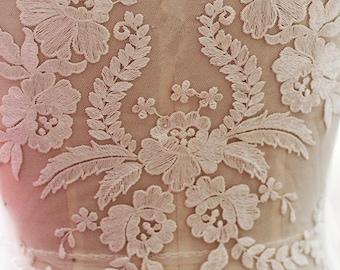 ivory wedding lace applique, bridal lace applique for wedding gown, bodice