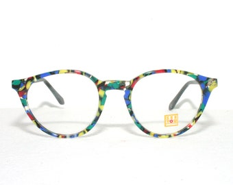 Happy Round 80's Eyeglasses See You by Metzler Multi Colored Colorful Medium Sized Eye glasses New Old Stock FREE SHIPPING Acetate
