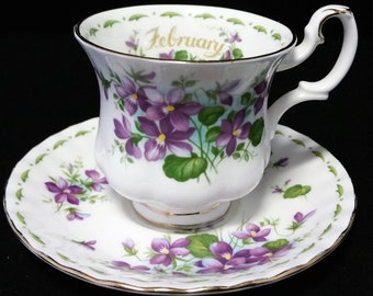 Royal Albert, Royal Albert Flower of the month Series February Violets, Royal Albert Flower of the month February teacup and saucer, 1970