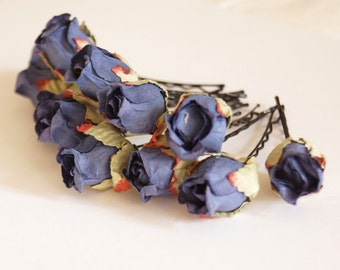 Bridal Hair Accessories, Dark  Blue Rose, Dark Blue flower Hair Bobby Pin-set 6