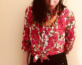 The Gold Standard // Statement Piece / Handknit Necklace / Boho Style / Bib Necklace
