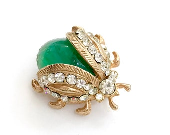 Tiny Green Jelly Belly Lady Bug Brooch, Flawed Emerald Glass Cab, Pave Ice Crystal Accents, Textured Gold Tone Metal, Vintage Gift for Her