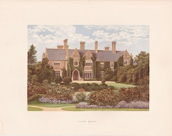 """Antique Woodblock Print - """"Oxley Manor""""  - 1880 English Country House - Home Decor Print to Frame, Stately Home, Staffordshire, England"""