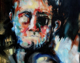 """Oil Painting. """"Ghost"""" , Contemporary Portrait , Abstract Painting"""