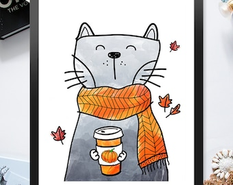 Instant Download Cat Holding Pumpkin Spice Blend 8x10 inch Poster Print - P1104
