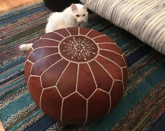 Authentic Handmade Moroccan Leather Pouf Ottoman,Genuine leather moroccan pouffes,ottoman pouf,leather pouf