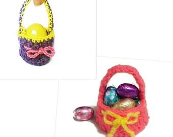 Easter Egg Mini Basket, Crochet Egg Holder, Set of 2, Miniature Crochet, Crochet Egg Cup, Yarn Set Gift under 15, Easter Decorations