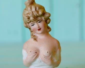 Antique German bisque perfume bottle squirter 1900's naughty Lady
