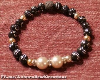 Black & pearl stars and stones