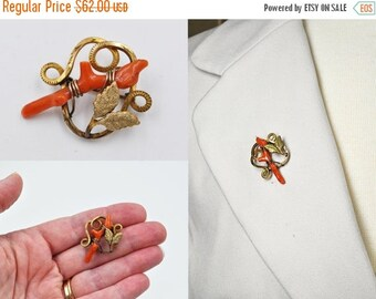 Antique Victorian Sterling Silver Coral Branch Brooch, Gold Vermeil, Salmon Coral, Leaves, Protection Pin, C Clasp, Lovely! #b469