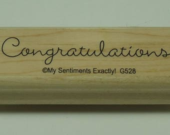 Congratulations! Wood Mounted Rubber Stamp From My Sentiments Exactly! G528 Baby Announcement, Egagement, Wedding, Anniversary, Graduation