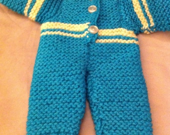 Knitted blue dolls snow suit