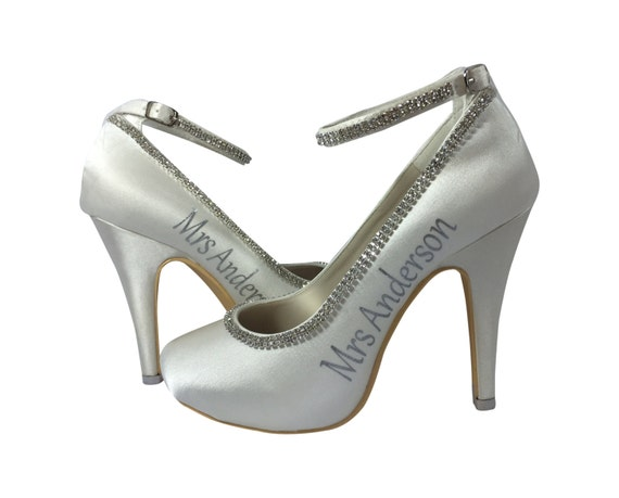 new date Ivory Diamonte Strap last and High and wedding Rhinestone Mrs Silver name Bridal Heels gATwFHqf