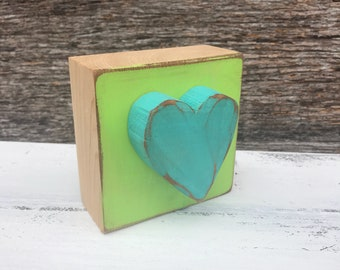 """Turquoise heart on lime green painted juniper wood block - 3.5"""" - Gift - love - grief - teacher"""