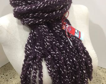 Handwoven purple white scarf