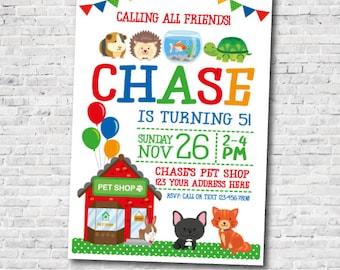 Pet Shop Invitation, Pet adoption party, Pets Birthday Party, Pet adoption Invites, Personalized Digital Invitation, 2 Options