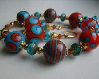 Colourful Orange and Blue Lampwork and Czech Glass Beads Bracelet and Earings Set, Bright Beaded Bracelet Dangle Earrings, Women's Bracelet