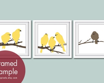 Birds on a Branch Series (Set of 3 - Square Art Poster Prints) Modern French Country Style (personalized colors)