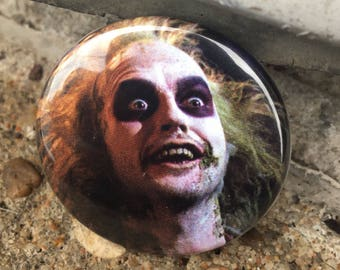 Beetlejuice face pin
