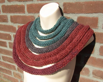 Knitted scarf. Green and brown scarf. Robin Hood. Gift for him. Gift for her. Infinity scarf. Boho scarf. Festival clothing. Unusual scarf.