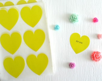 """SALE ~ 24 Bright Yellow Heart Stickers, Heart Envelope Seals 1 1/2"""", Heart Shaped Stickers, Yellow Heart Labels"""