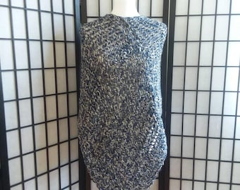 Hand made, knitted Poncho, Wrap, Sweater in shades of blue.