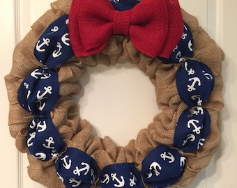 Red white and blue anchor wreath