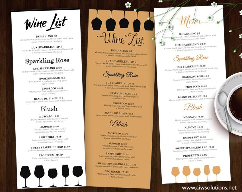 Wein Liste Wein-Menü-Vorlage Hochzeit Druck trinken Menü