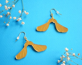 Helicopter Seed Earrings, Sycamore Seed, Gold Acrylic Jewellery, Acrylic Earrings, Laser Cut Earrings, Acrylic Jewelry, Nature Jewellery