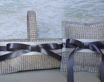 Bling Basket & Pillow- Choice of Ribbon Colors- Wedding Rhinestone - Ringbearer Flowergirl Flower Girl Ring Bearer Diamond Crystal
