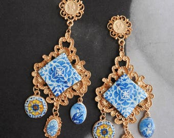Earrings Majolica Portugal Tile Azulejo Baroque   - Tomar Convent of Christ -  Posts Studs Featured on cover of DIVINITY magazine March 2018