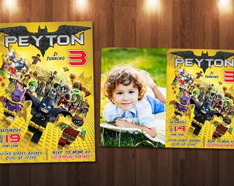 Lego Batman Birthday Invitation, Lego Invitation, Batman Invitation, Lego Batman Invitation Robin Custom Personalized Printable Digital