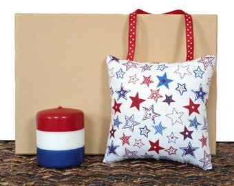 Patriotic Door Hanger Pillow Stars Polka Dots Americana Fourth of July Rustic Red White Blue Decorative