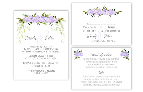 Printable Wedding Invitation Suite Templates Flower - Wedding invitation templates: wedding invitation suite templates