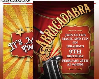 Magic Party Invitation - Magical Printable Birthday Party Invite - DIY Print - Made to Order Printed Invitation - Magician Show